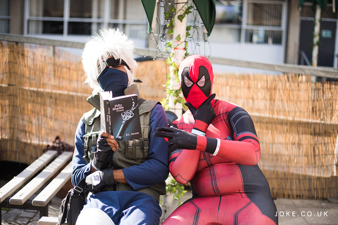 Cosplayers as Hatake Kakashi from Naruto and Deadpool at London Anime & Gaming Con