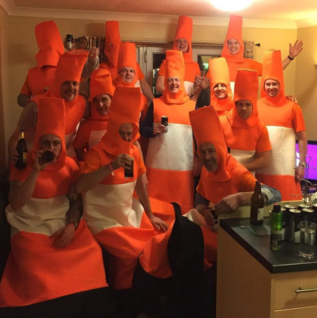Group people dressed as Road Cones